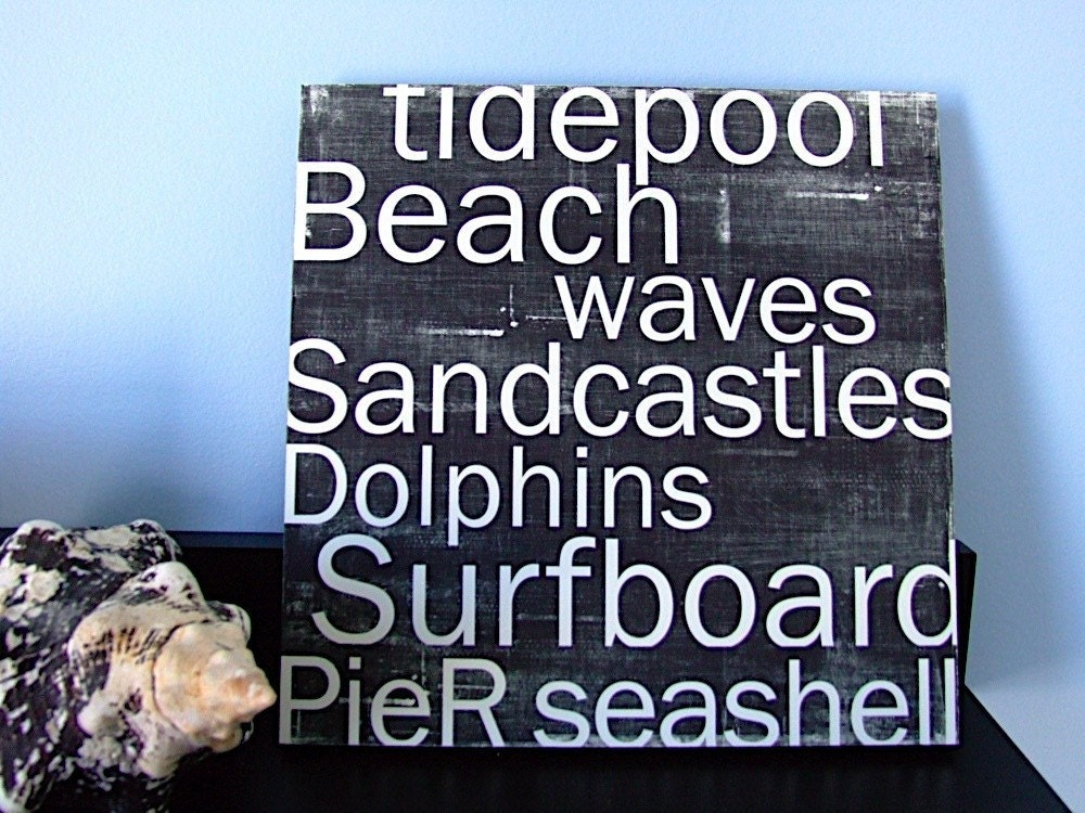 Sandcastles and Waves and Seashells - Beach Favorites in Black 12x12 CAFE MOUNT - redletterwords