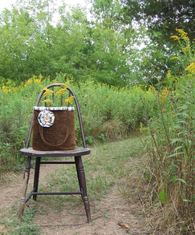 Woodland Moss Tote Bag - Reversible Stripe Book Bag, Carry All Totebag Purse Handbag - JannysGirl