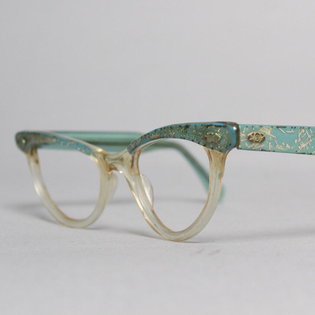 50s CATEYE Glasses FRAMES / Sky Blue & Silver by LuckyDryGoods