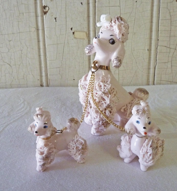Vintage Pink Spaghetti Poodle Figurine Set By Kitschyvintage