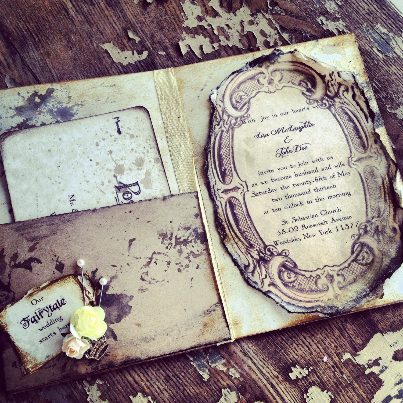 pocketfold invitations fairytale wedding invitation by With fairytale wedding invitations etsy