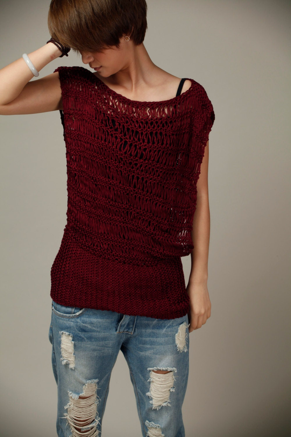 Silky cotton Tunic in Wine Burgundy - MaxMelody