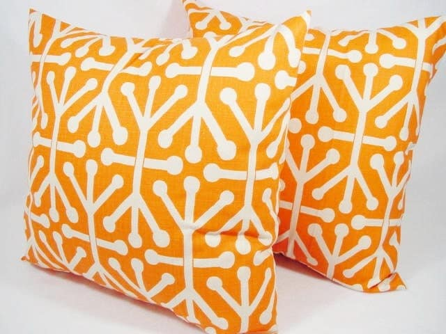 Items similar to Two Orange Couch Pillows - Orange Geometric Pillow - Decorative Sham - 12x16 ...
