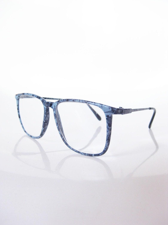 Vintage OVERSIZED Denim Blue Glasses Optical by OliverandAlexa