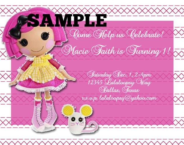 Lalaloopsy Birthday Invitations Printable