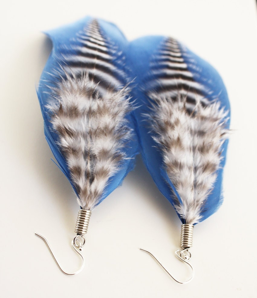 Ocean Earrings, Feathers in Blue, Black and White, Sterling Silver