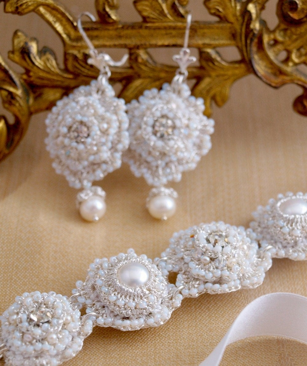 Reserved for Krista--Balance Listing on Custom Lace Wedding Jewelry Set
