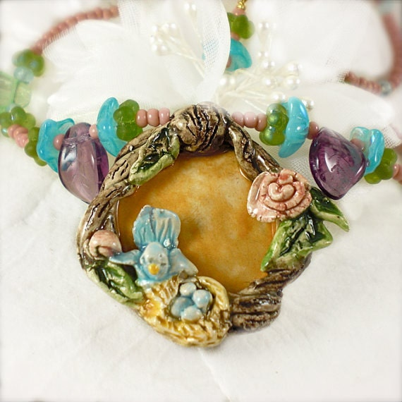 Handmade Designer Necklace Tiny Bird in Nest Sculpted Ceramic Vintage beads - Salzanos