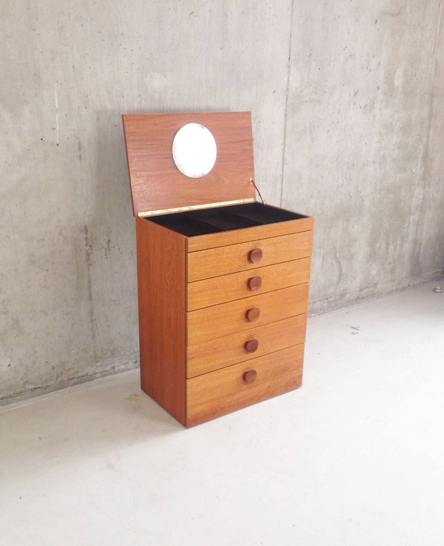 Original 1970s mid century teak chest of drawers with lift up mirror and jewellery tray