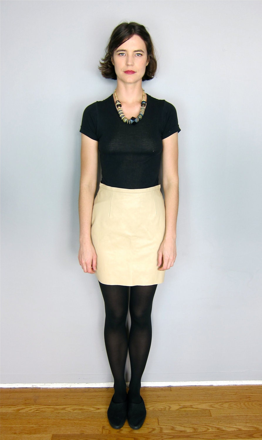 soft high waisted leather mini skirt by asecretshop on