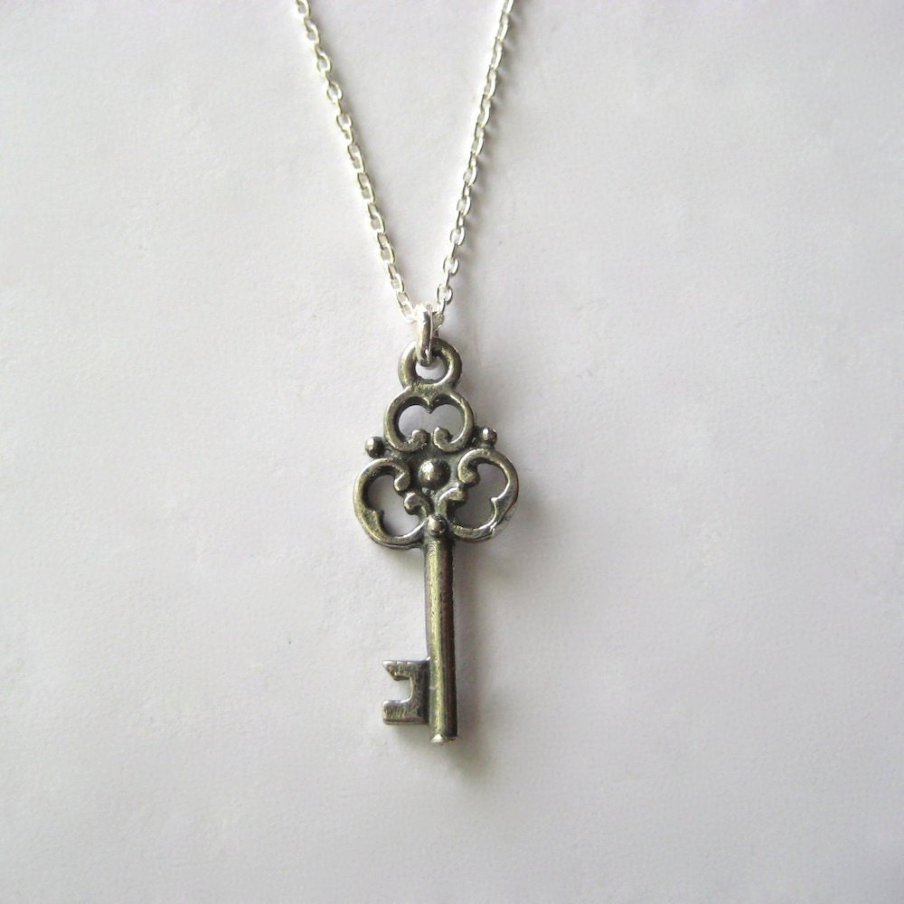 Skeleton Key Necklace, Key Necklace, Rustic Necklace, Antique Style - juliegarland