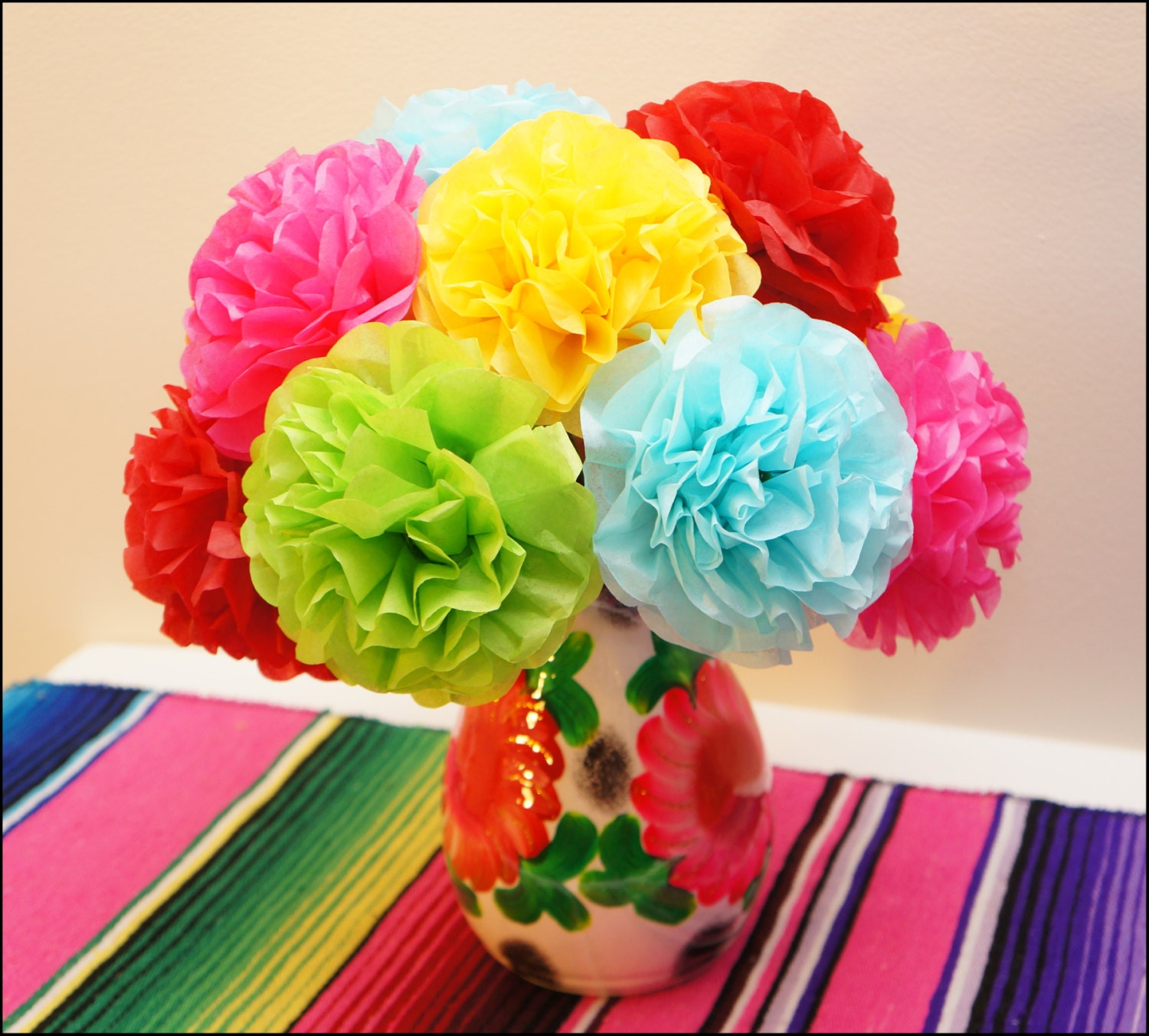 fiesta tissue paper flowers 12 count by princessapprovedshop