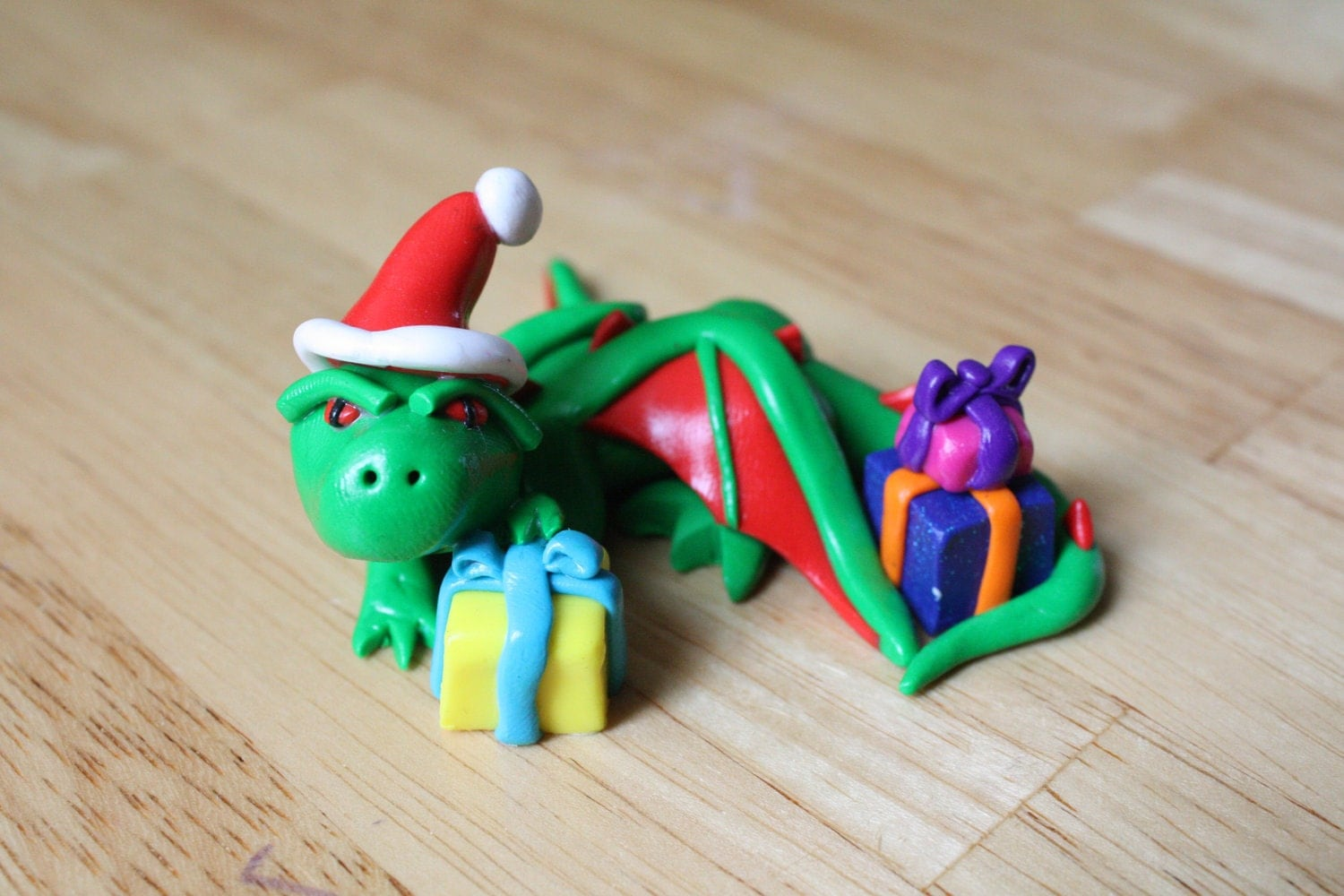 Christmas Dragon With Presents and Santa Hat Green and Red