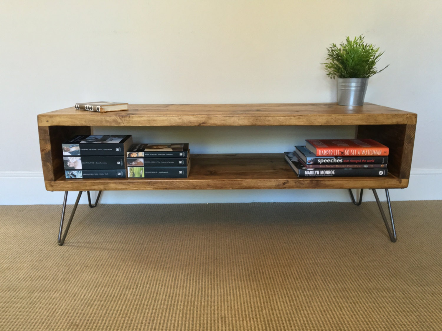 Rustic Wood TV Stand  Living Room Table  Side Table Made From Reclaimed Scaffold Boards on Hairpin Legs  Industrial Urban