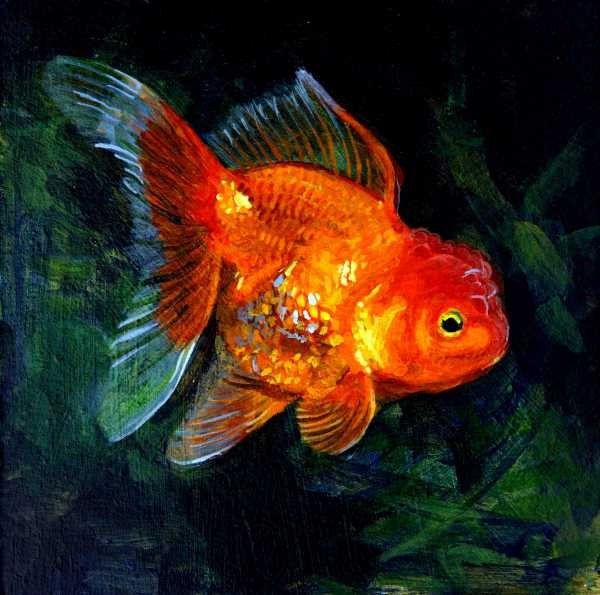 Items similar to Goldfish Painting, Original print ...
