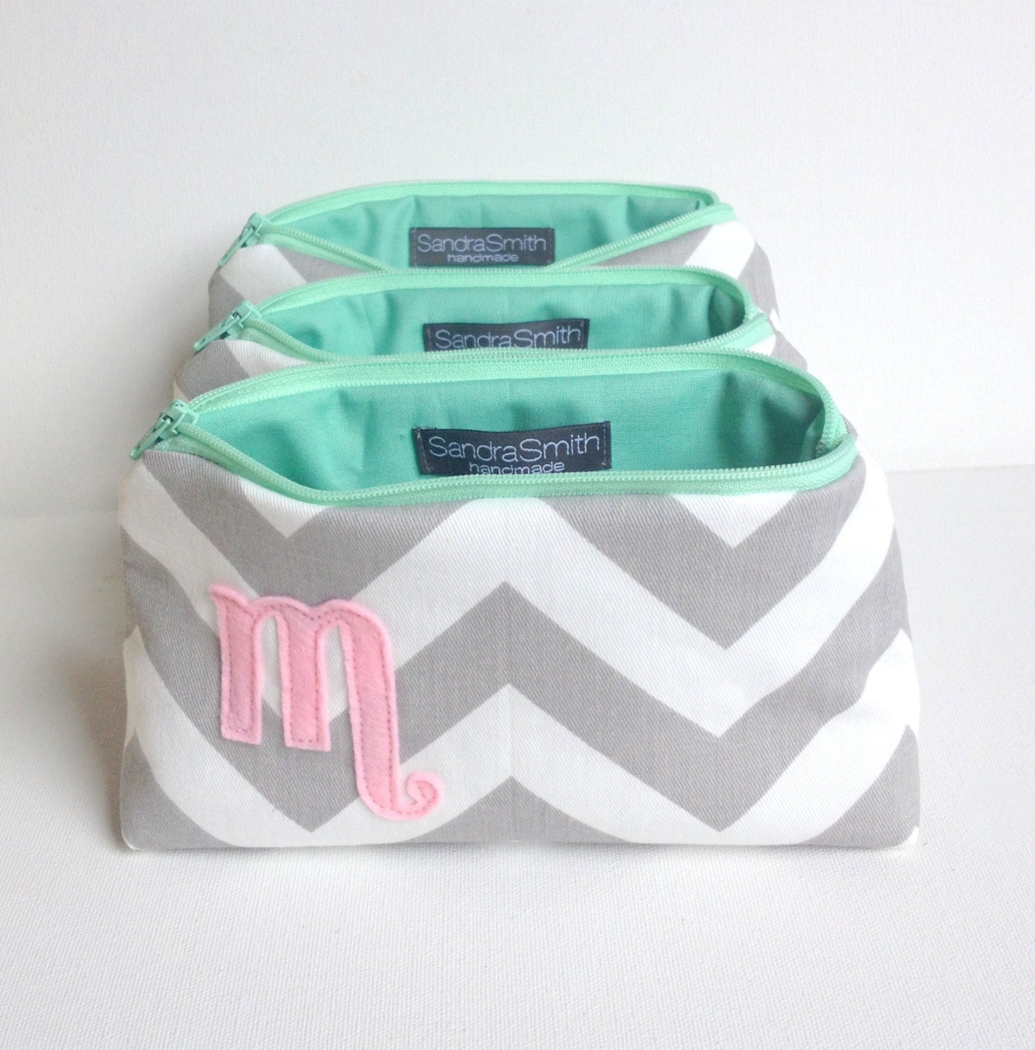 Three Pink Mint & Grey Monogram Cosmetic Bags: Bridal Set Chevron and Blush Light Pale Pink Mint Letter, Custom Bridesmaids, Wedding Gift