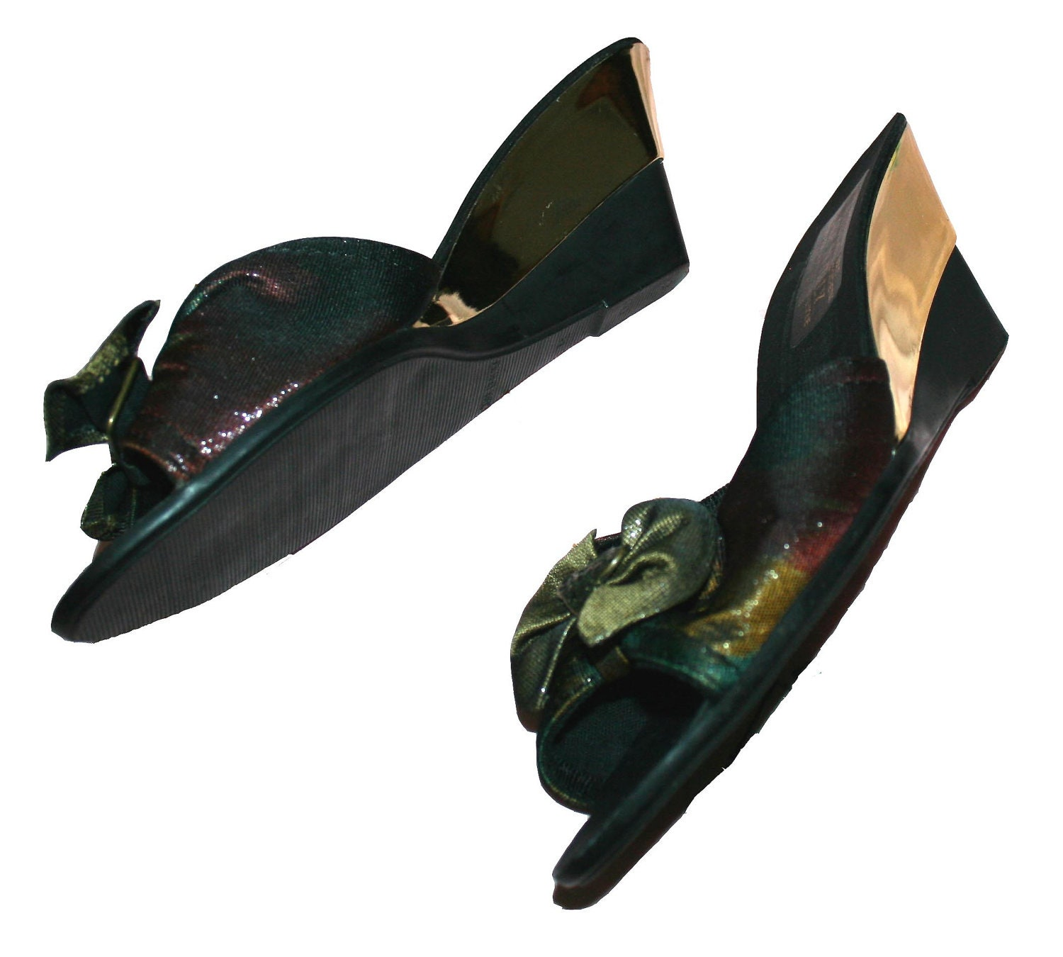 items similar to black and gold wedge heel shoes made in