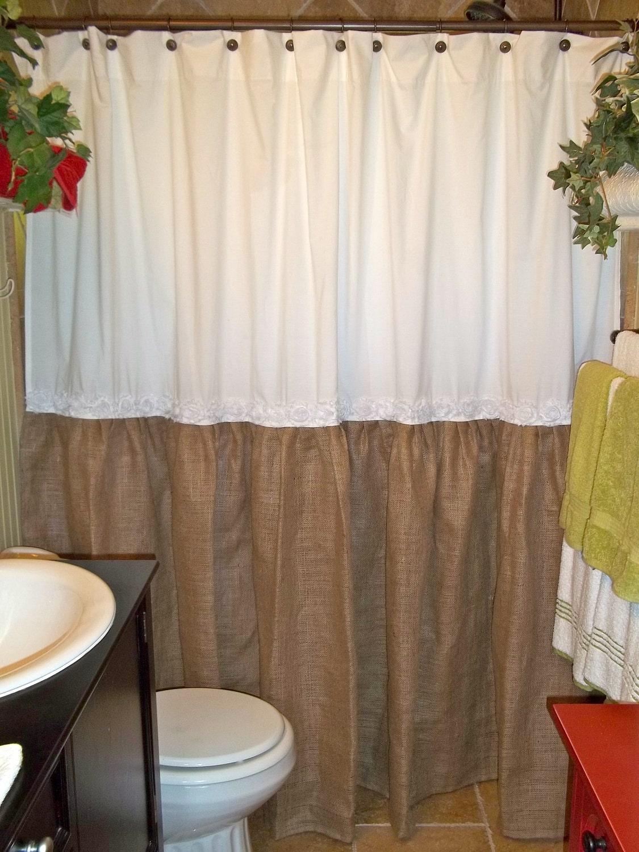 ... Trim - Burlap Shower Curtain - Burlap & Cotton Gathered Shower Curtain