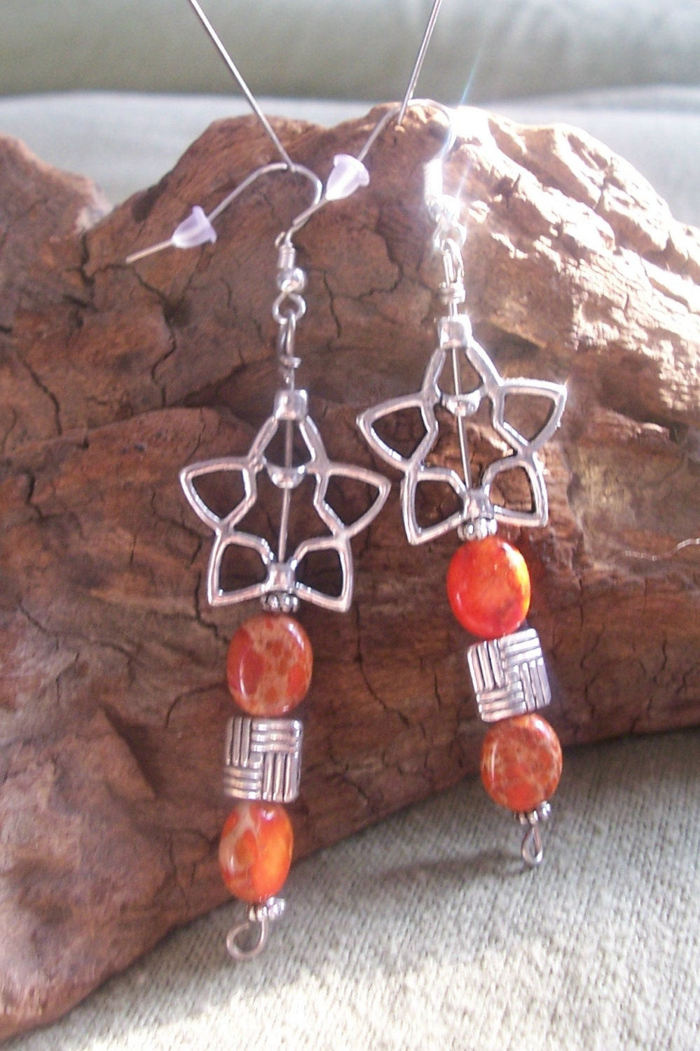 Orange Sea Sediment Jasper Earrings - MarquisCreations