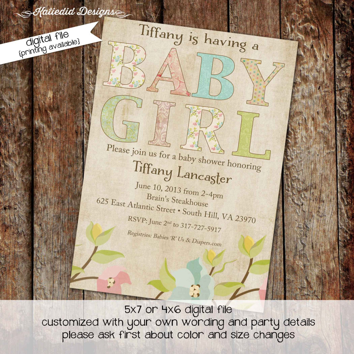 baby girl shower invitations with shabby chic flowers digital