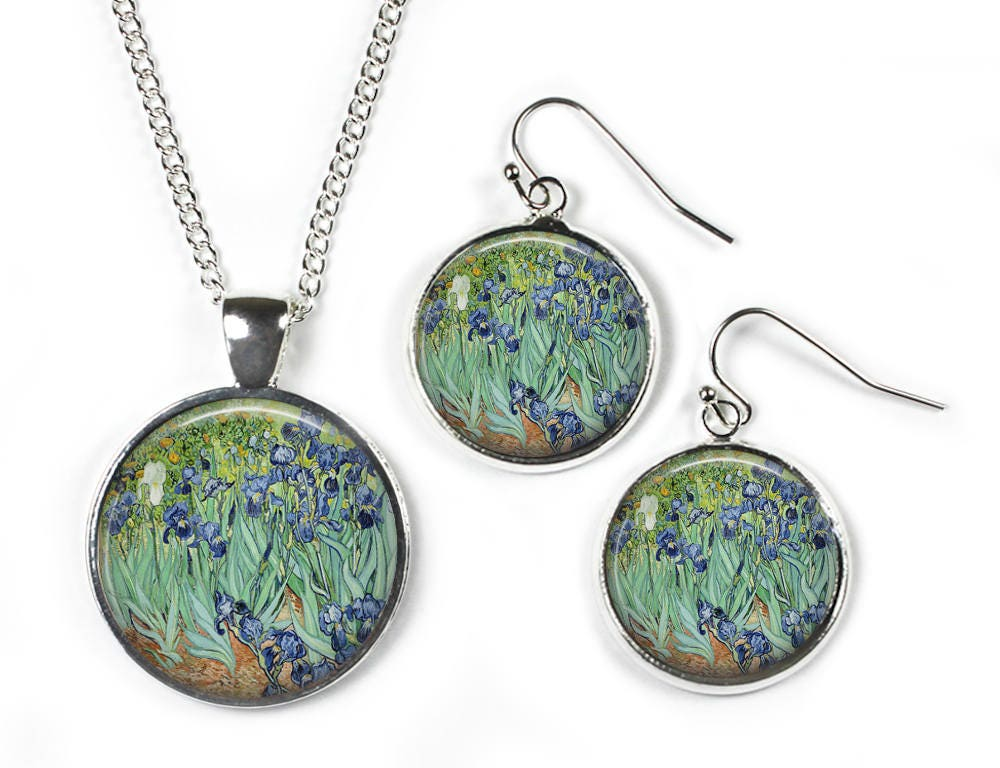 IRISES Vincent Van Gogh  Set Pendant Chain  Earrings  Glass Picture Jewellery  Silver Plated