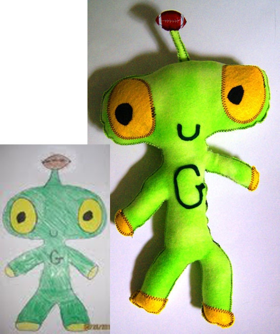 Children's Plush Toy from Kids Original Artwork, Send me their drawings and I create it into a plush toy