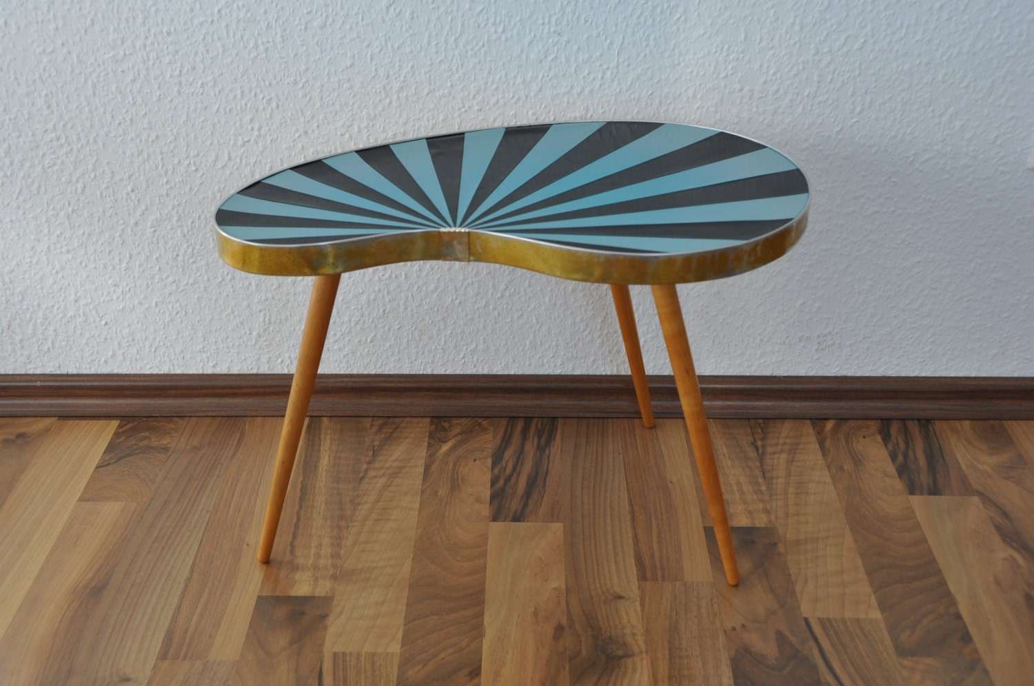RARE Authentic Mid Century Plant Stand. Striped. Black and sky blue.1950s. Small Table. Germany. - BerlinerStrasse