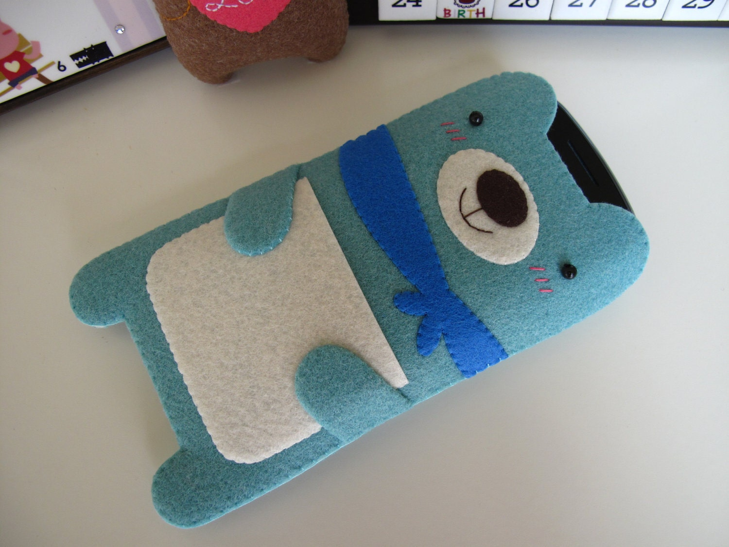 iPhone 4 case / iPhone case / iPod Touch case - Blue Bear with Scarf (Custom Size Available)