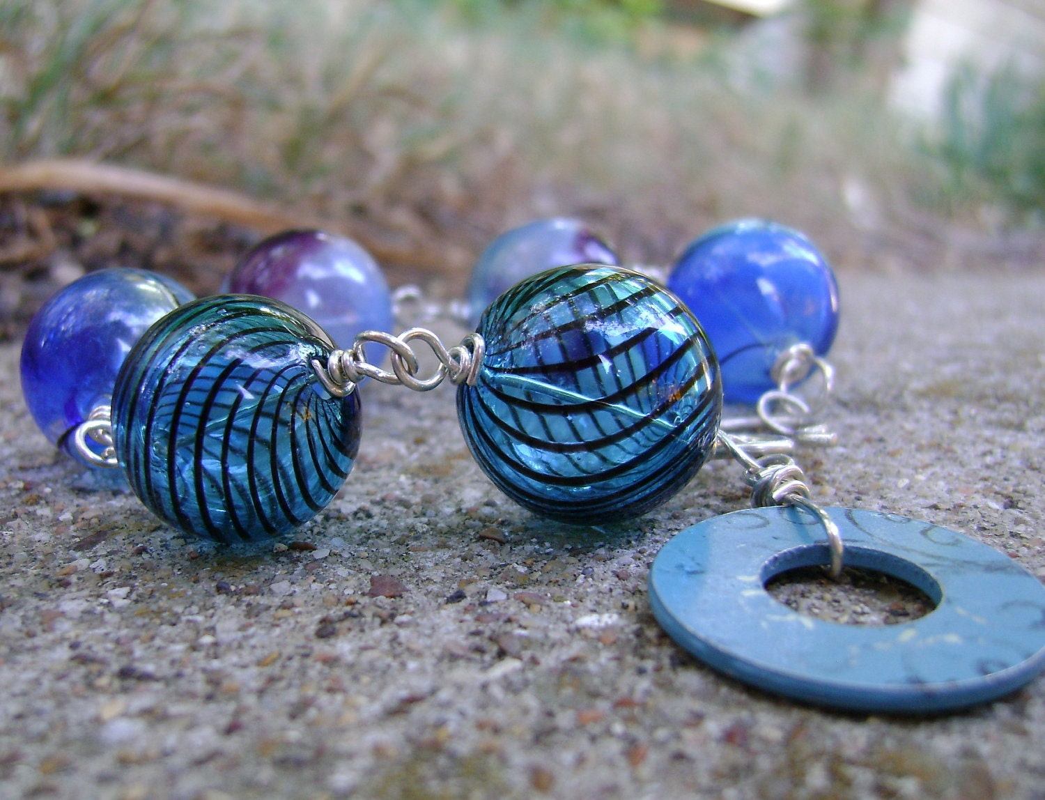 Oblio - blown glass, upcycled washer and sterling bracelet - ready to ship - jgrumbling