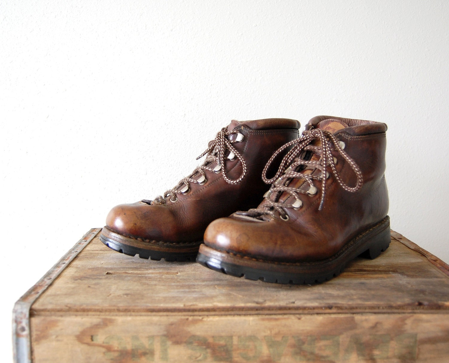 vintage fabiano boots mens brown leather by