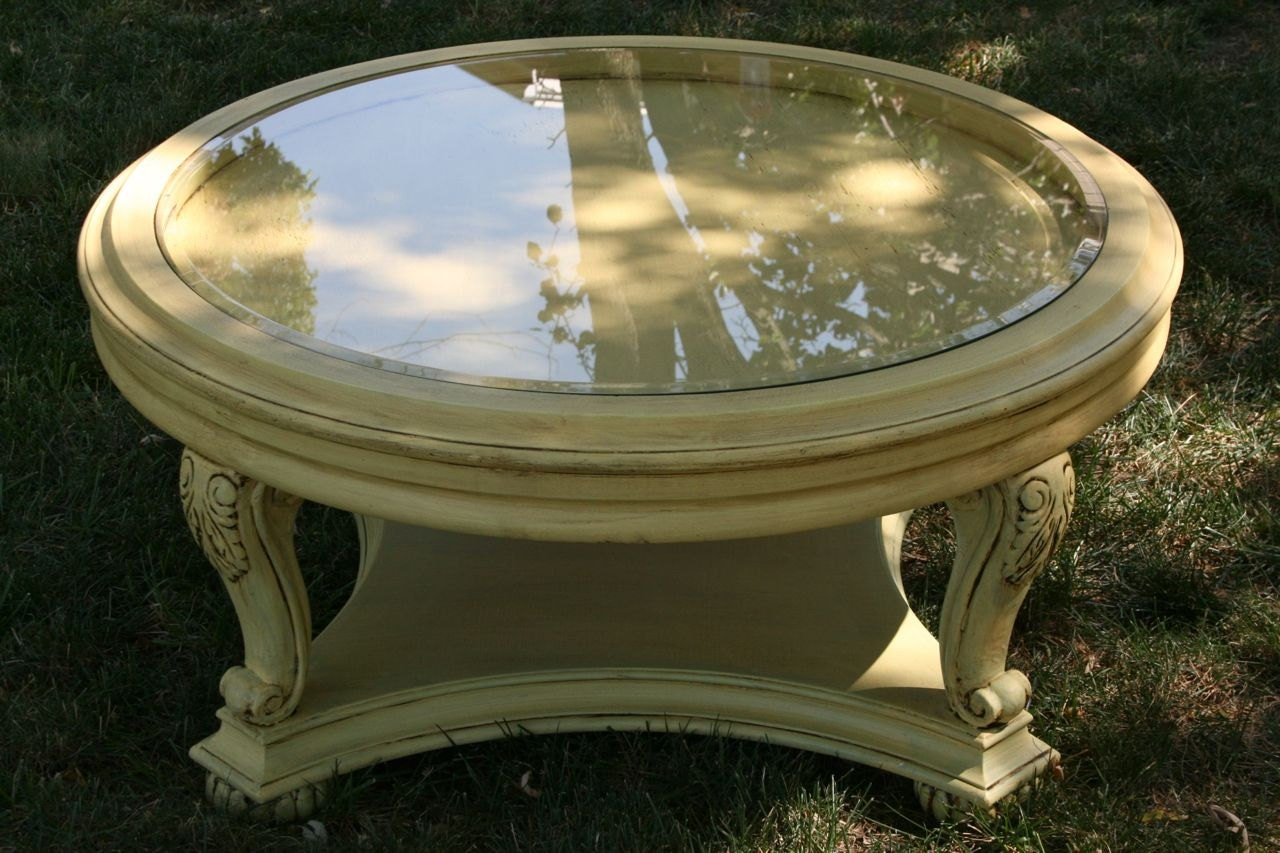 Items Similar To Shabby Chic Round Glass Top Coffee Table On Etsy