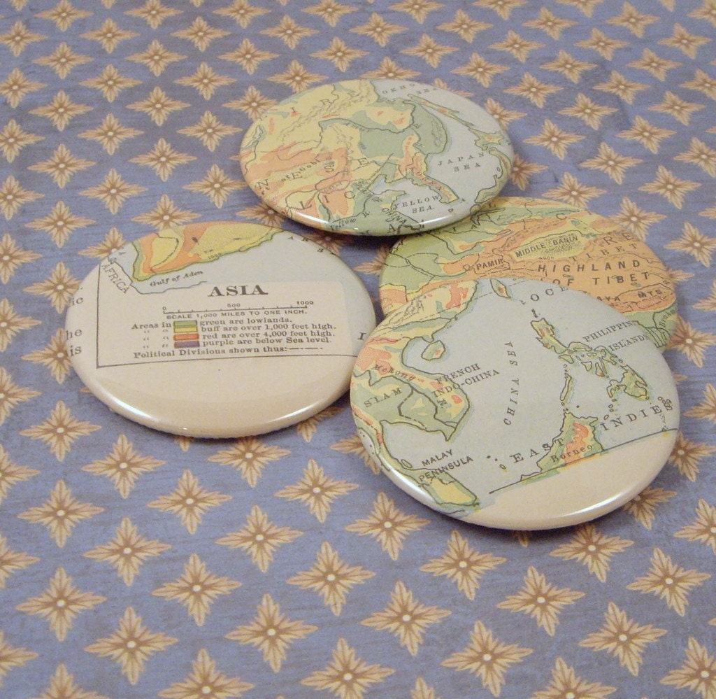 Asia Magnets, Vintage 1914 Atlas, set of 4