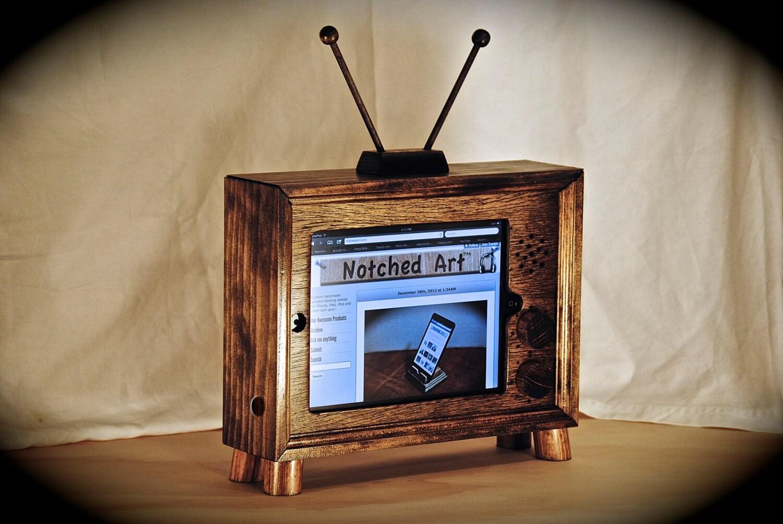"""""""IPad Dock TV"""" stacja dokująca-Dark Walnut drewniany stojak ipad iPad 1, 2, 3 i 4 gen"""