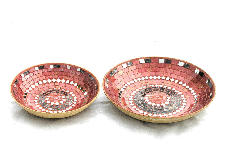 Fruit platters mosaic nesting terracotta red and black modern home decor - SirliMosaic