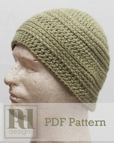 Crochet Patterns For Men s Gifts : Mens Knit Look Beanie Hat Crochet PDF Pattern by ...