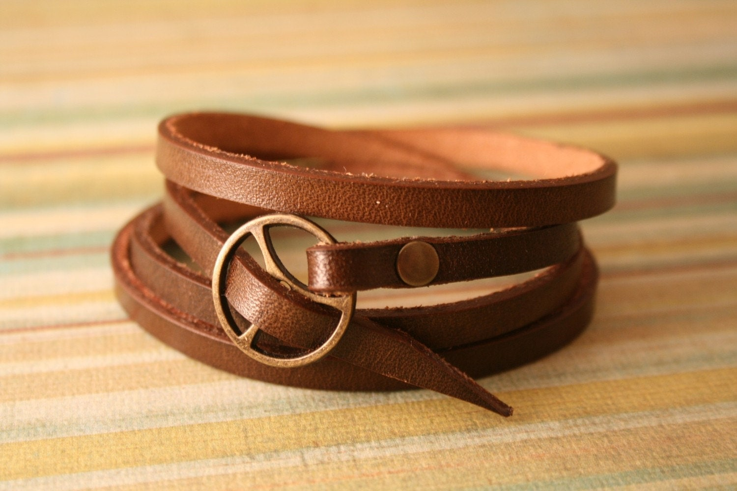 leather wrap bracelet in brown leather with brass by