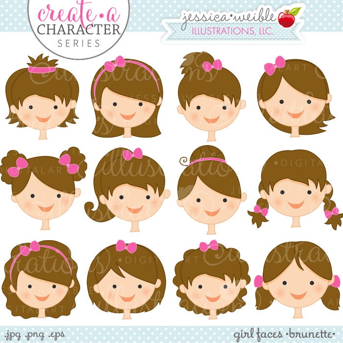 Brunette Girl Faces - Create A Character Series - Cute