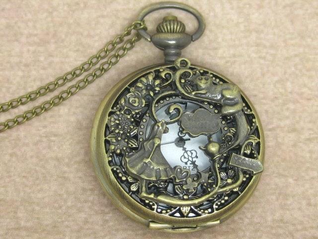 Alice in wonderland pocket watch necklace,with antique brass rabbit pendant