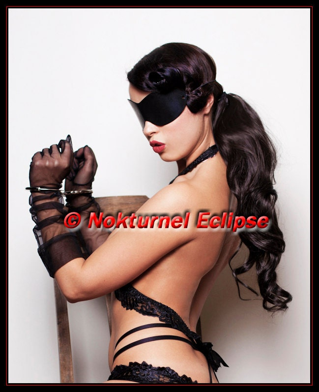 MATURE Black Leather Blindfold Mask Adult Fantasy Role Play Fetish Mistress ...