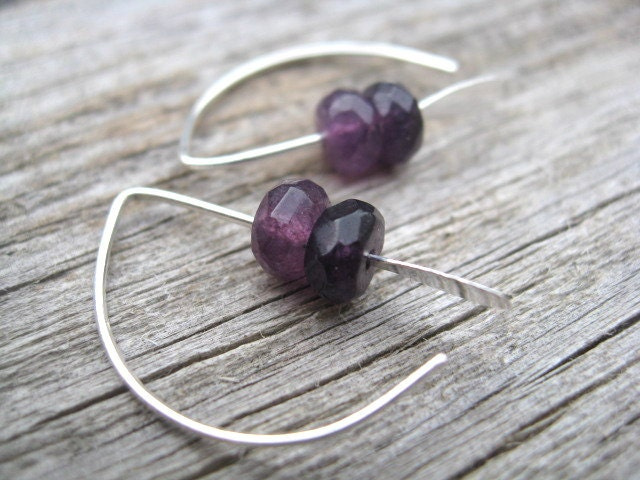 purple earrings. simple jewelry. faceted stone beads. - Splurge