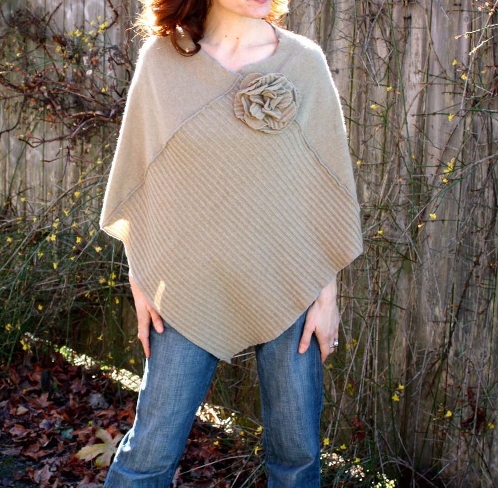 Eco Cashmere Poncho, WOMENS CLOTHING, Womens Cape Shawl with Flower