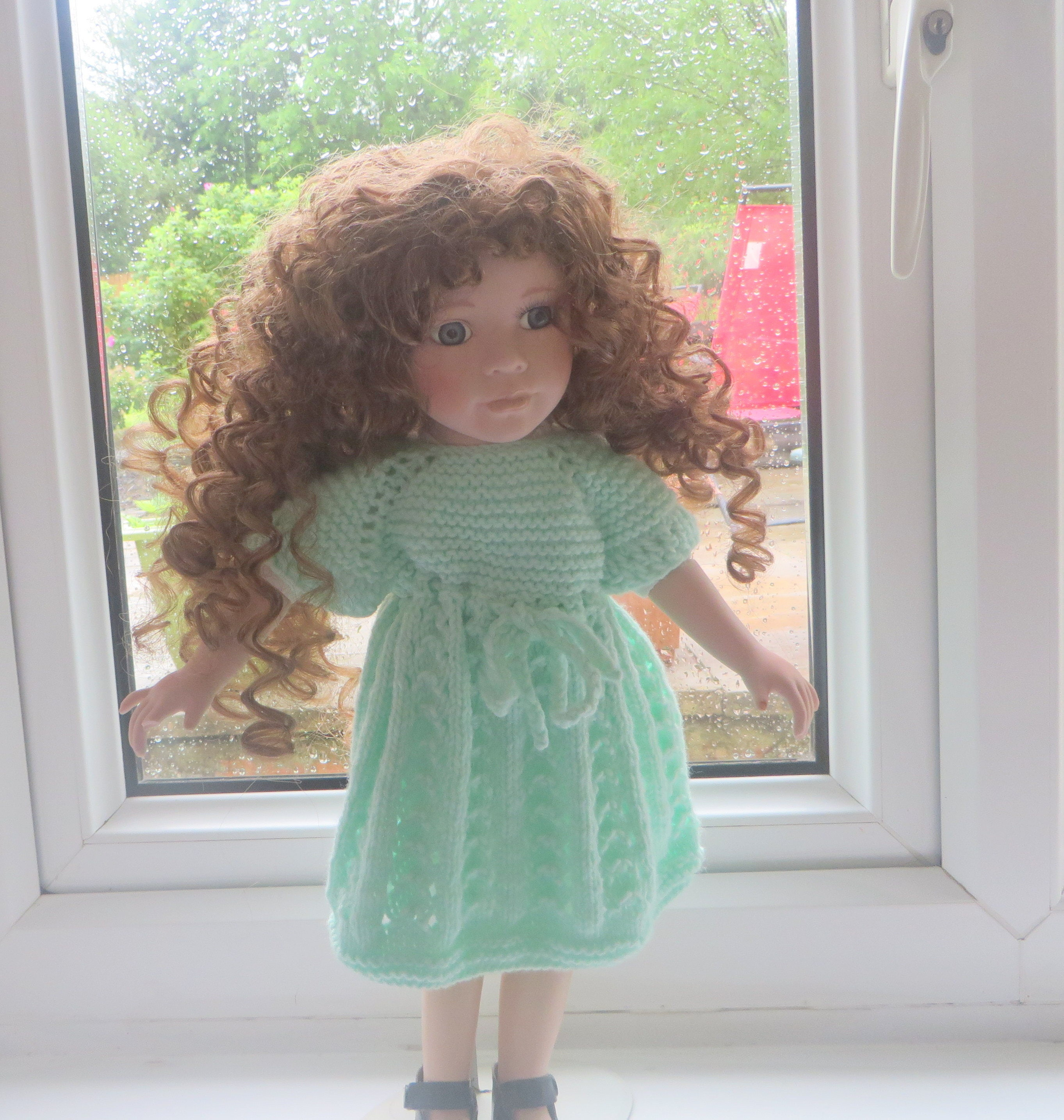 18 American Girl Doll and other Dolls this size Hand knitted Dolls clothes Dress in mint green.