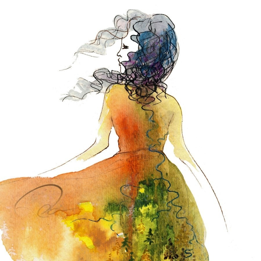 Items similar to Don't Look Back - Art Print spirit woman ...