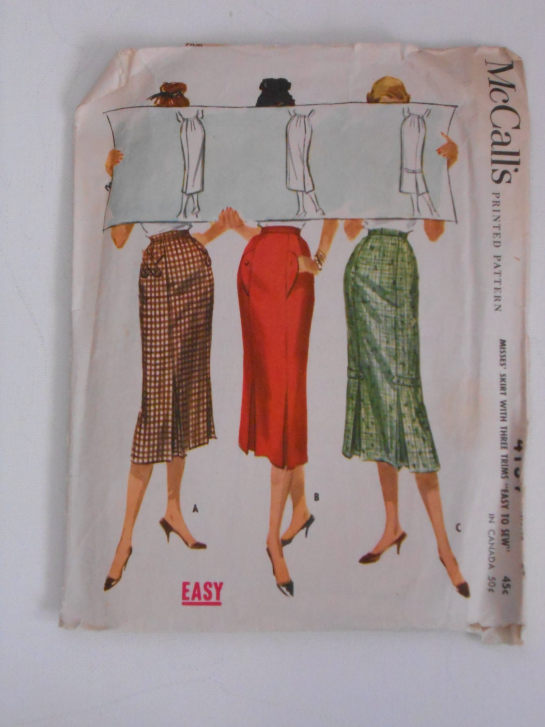 vintage 50s pencil kick pleat skirt pattern by lisaanne1960