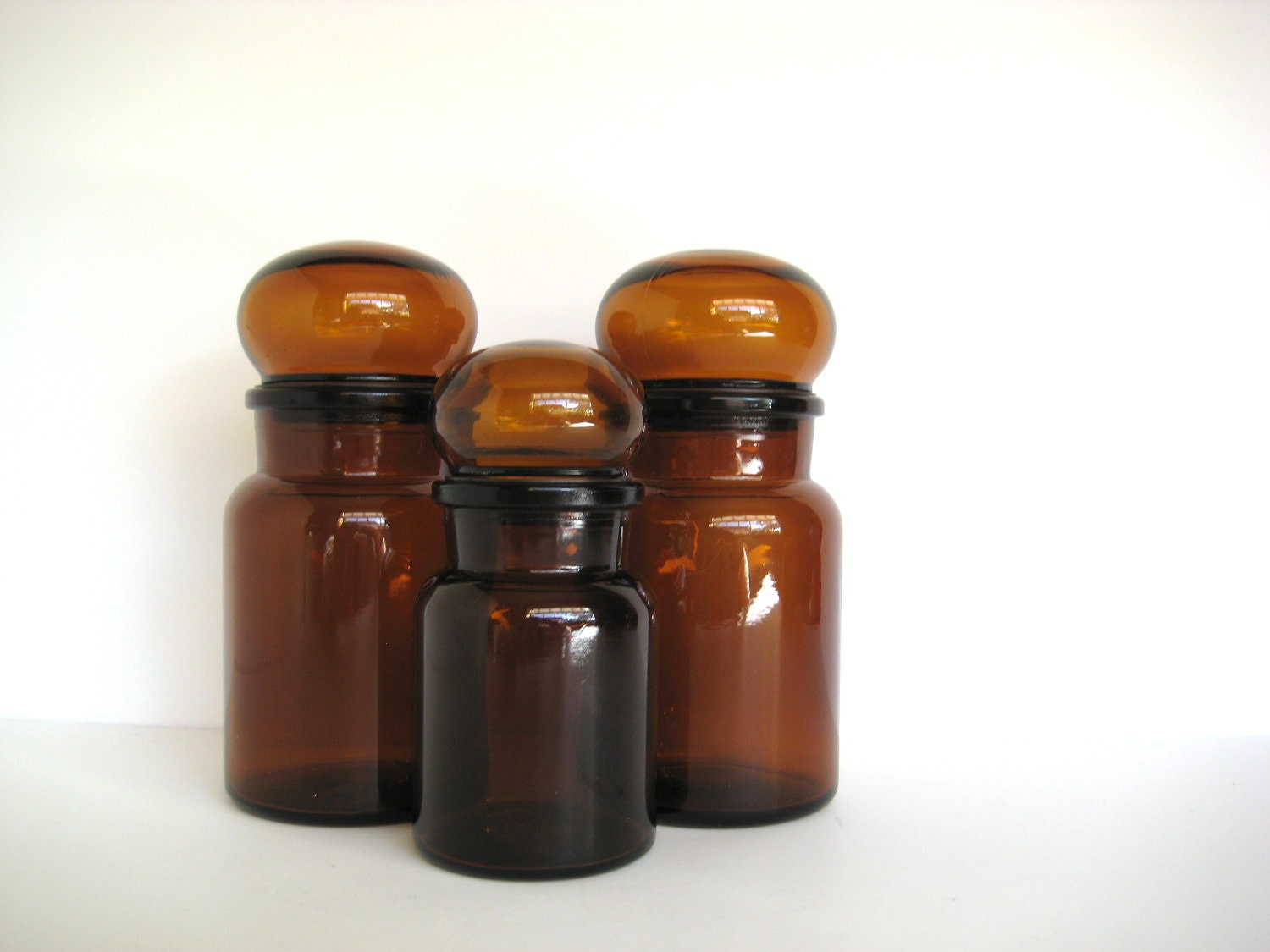 apothecary jar trio brown canister set spice jar by