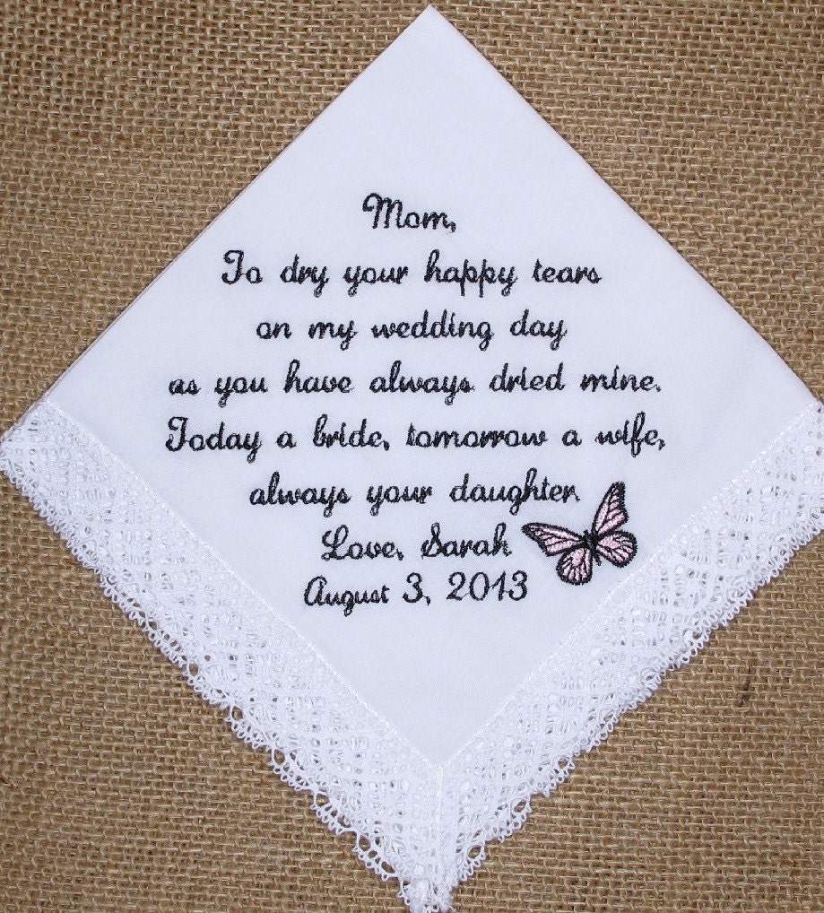 Gift for mother of the bride custom embroidered wedding