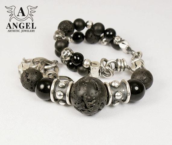 Handmade Bracelets, Sterling Silver, Patina, Black Lava, Onyx - Womens Bracelet - Rustic Bracelet - Rocker Jewelry - AngelJK