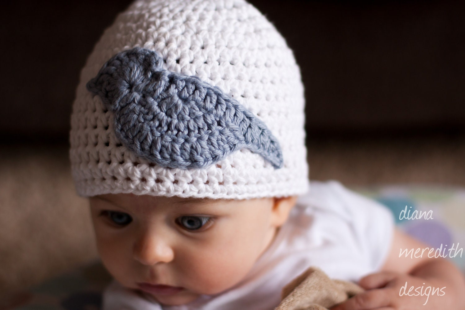 Crochet Baby Hat - 3-6 months - White with Blue Bird