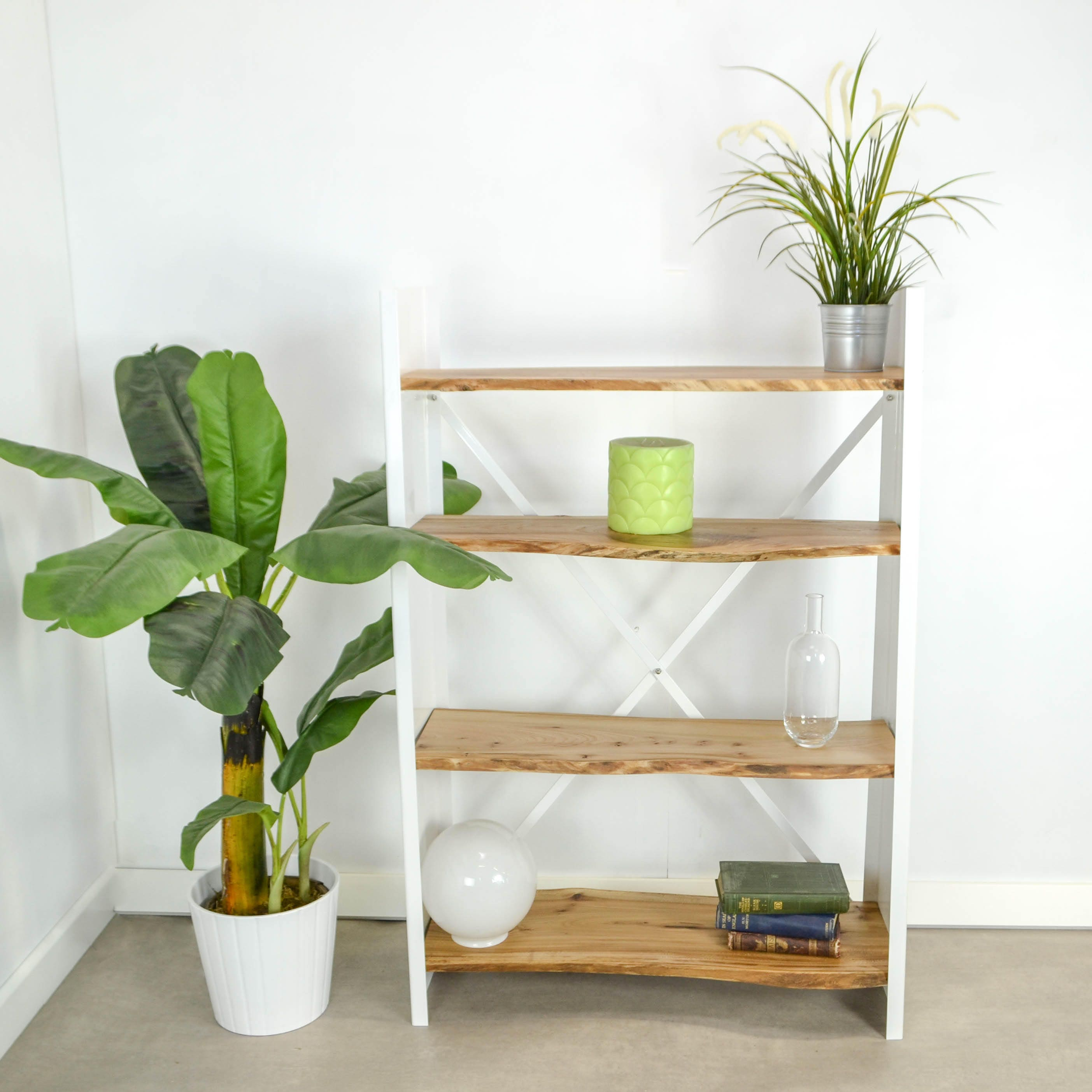 Wood and Steel Bookcase  Steel bookcase with natural live edge wood slab shelves