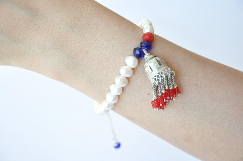 crystal bead tassels  metal bracelet, - hobilium